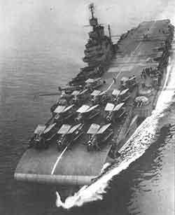 Aircraft carrier with aeroplanes on deck